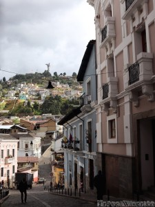 Quito Old Town street with view over the Virgen del Panecillo