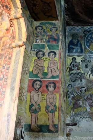 Mural depicting Adam and Eve in an Ethiopian church