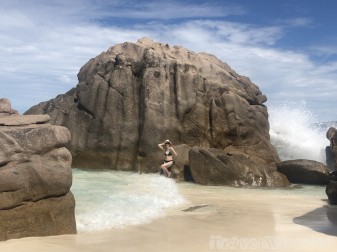 Seychelles granite boulders on the beach