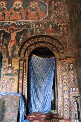 Debre Birhan Selassie church interior Gondar Ethiopia