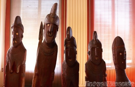 Funerary statues at the Ethnological Museum in Addis Ababa