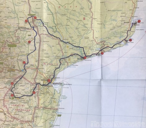Mozambique Swaziland and Kruger road trip itinerary on map