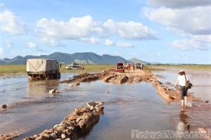 Flooded road in the Rupununi savannah Guyana