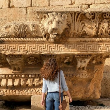 Decorative lion head at the Baalbek temples in Lebanon