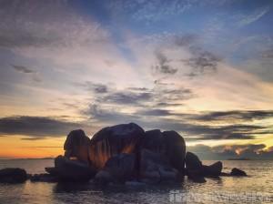 Rocks in front of Les Rochers restaurant Praslin, Seychelles