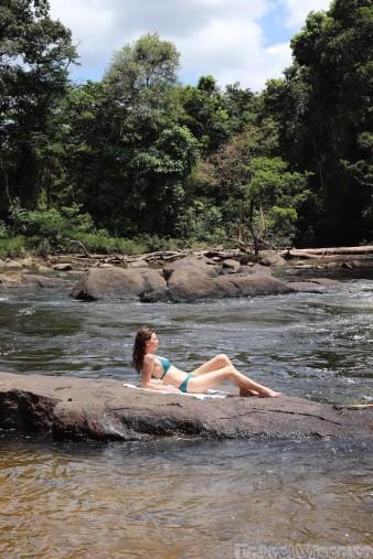 River swimming in the Guyana rainforest