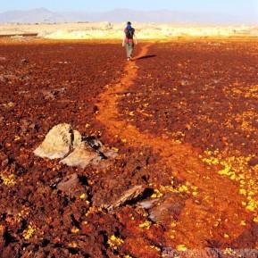 Walking on a trail in Dallol, Danakil Depression Ethiopia