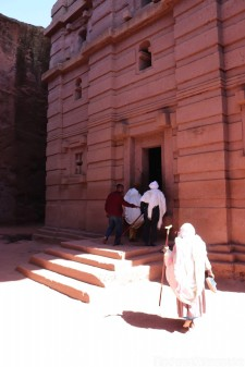 Worshippers entering Bet Amanuel in Lalibela
