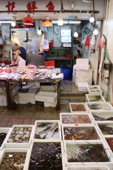 Fish stand at Causeway Bay Market Hong Kong
