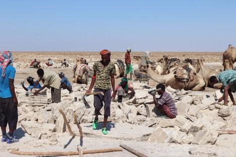 Mining salt in the Danakil Depression, Afar region Ethiopia