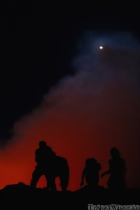 People on the edge of Erta Ale lava lake