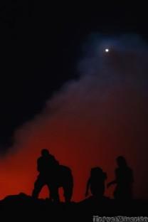 People on the edge of Erta Ale lava lake