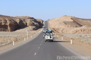 Car convoy on the road to the Danakil Depression