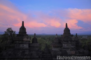 Sunset at Borobudur temple Java Indonesia