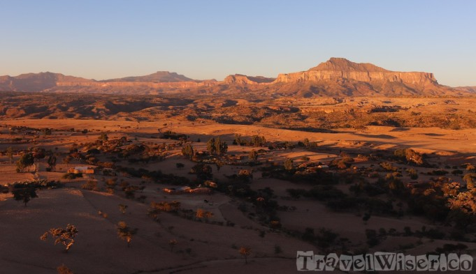 Tigray highland landscape at sunset
