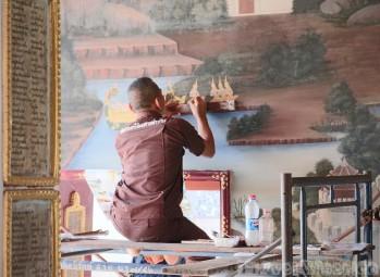 Painting the Ramakian murals, Wat Phra Kaew Bangkok