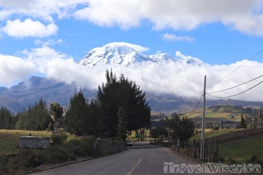 Volcan Chimborazo looming over the road