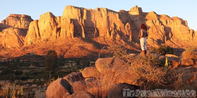 Sunrise view of the Gheralta mountains Tigray