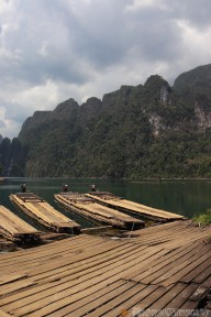 Bamboo raft boats at Coral Cave
