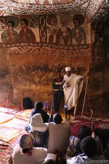 Priest and followers at Abuna Yemata Guh