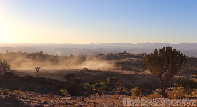 Dusty road through Tigray highland landscape