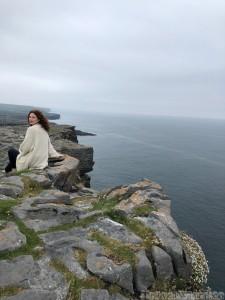 Contemplating the cliffs at Dun Aengus, Inishmore